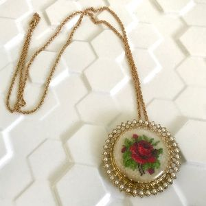 Vintage rose embroidered pendant brooch necklace